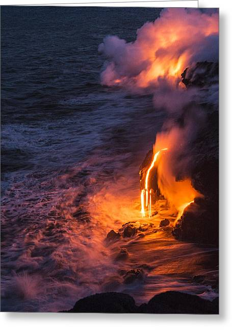 Glow Photographs Greeting Cards - Kilauea Volcano Lava Flow Sea Entry 6 - The Big Island Hawaii Greeting Card by Brian Harig