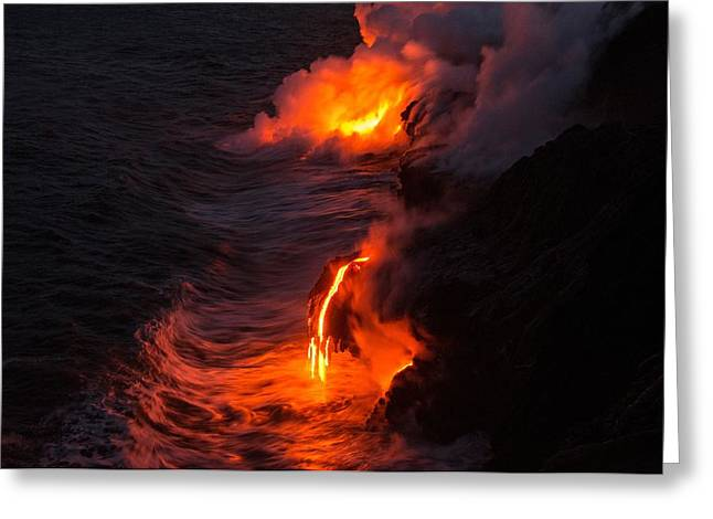 Glowing Greeting Cards - Kilauea Volcano Lava Flow Sea Entry - The Big Island Hawaii Greeting Card by Brian Harig