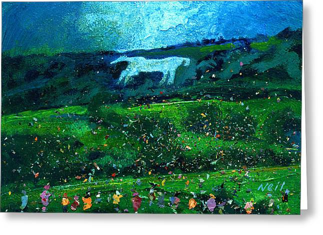 Neil Mcbride Greeting Cards - Kilburn Feast under the White Horse Greeting Card by Neil McBride