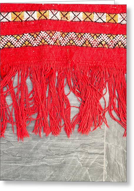 Fibres Greeting Cards - Kilim rug Greeting Card by Tom Gowanlock