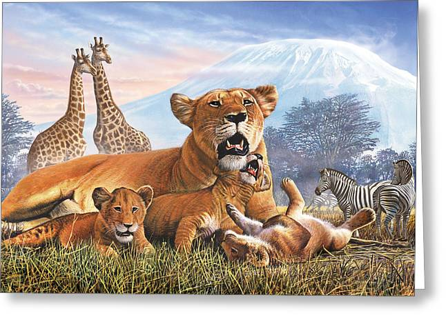 Lion Illustrations Greeting Cards - Kilimanjaro Lions Greeting Card by Steve Crisp