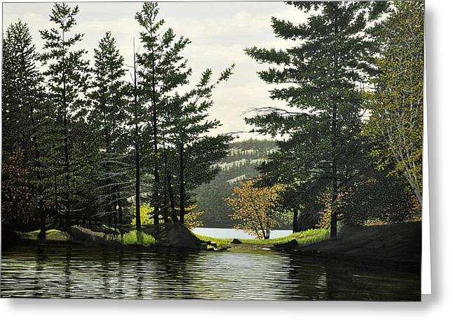 Canoe Paintings Greeting Cards - Killarney Greeting Card by Kenneth M  Kirsch