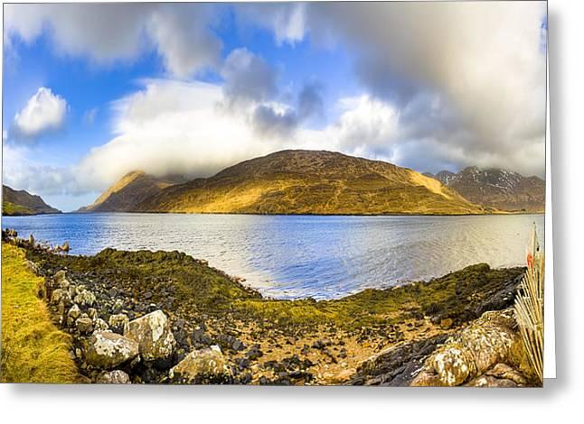 Winter Scenes Rural Scenes Greeting Cards - Killary Fjord - Irish Panorama Greeting Card by Mark Tisdale