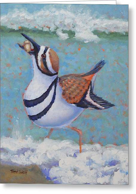 Glass Buoys Greeting Cards - Killdeer Brunch Greeting Card by Toni Wolf