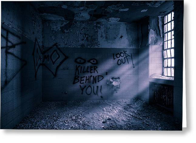 Creepy Greeting Cards - Killer Behind You - Abandoned Hospital Asylum Greeting Card by Gary Heller