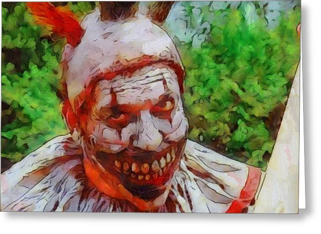 Scary Clown Greeting Cards - Killer Clown Greeting Card by Dan Sproul