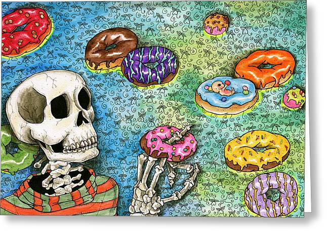 Embryo Drawings Greeting Cards - killer Donuts Greeting Card by Julie McDoniel