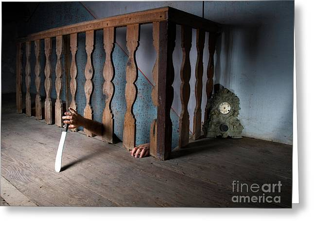 Basement Greeting Cards - Killer in the basement Greeting Card by Sinisa Botas
