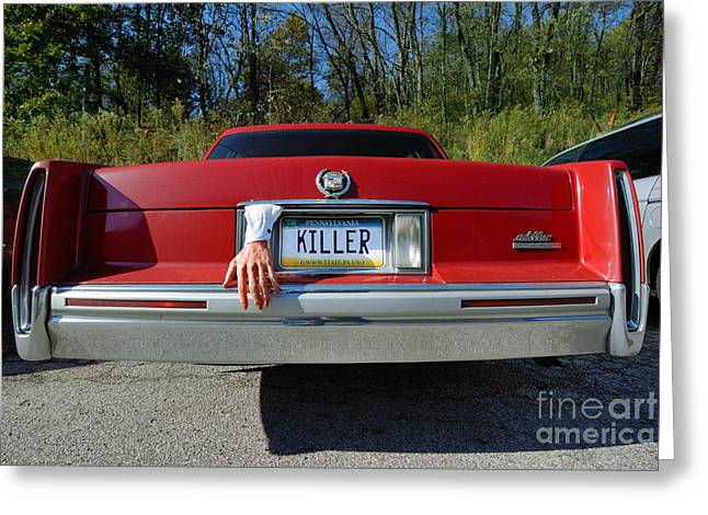 Hand Greeting Cards - Killer License Plate Greeting Card by Amy Cicconi