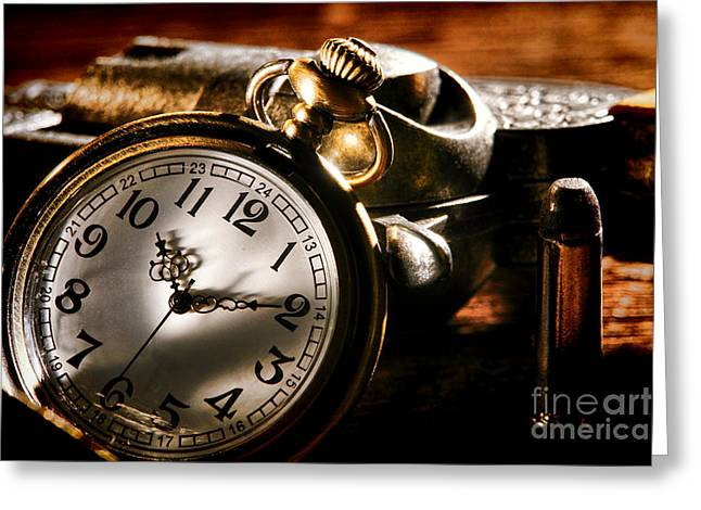 Pocket Watch Greeting Cards - Killer Time  Greeting Card by Olivier Le Queinec
