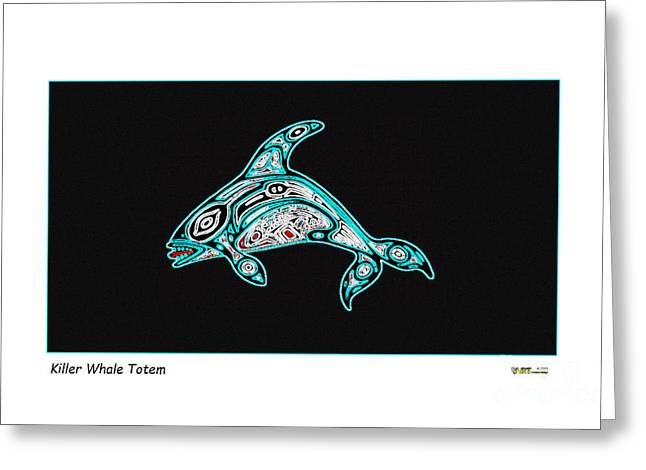 Aboriginal Mixed Media Greeting Cards - Killer Whale Totem Greeting Card by Art  MacKay
