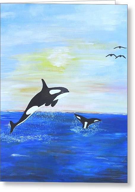 Sea Animals Greeting Cards - Killer Whales Leaping Greeting Card by Karen J Jones