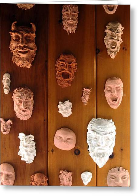 Whimsical. Reliefs Greeting Cards - Kiln Gods Greeting Card by Deborah Dendler