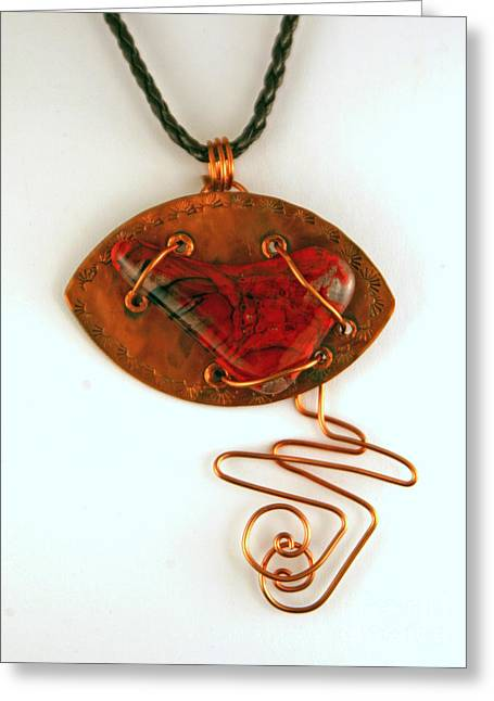 Handcrafted Jewelry Greeting Cards - Kilnformed Glass and Copper FM072810 Greeting Card by P Russell
