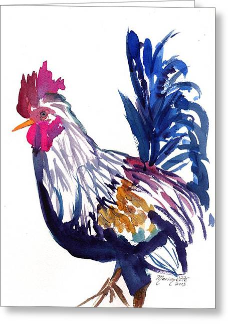 Colorful Rooster Greeting Cards - Kilohana Rooster Greeting Card by Marionette Taboniar