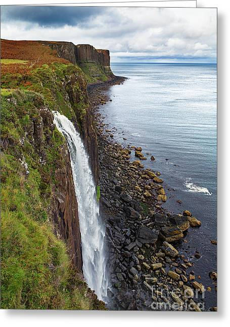 Steep Greeting Cards - Kilt Rock waterfall Greeting Card by Jane Rix