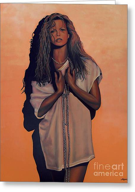 James Paintings Greeting Cards - Kim Basinger Greeting Card by Paul  Meijering