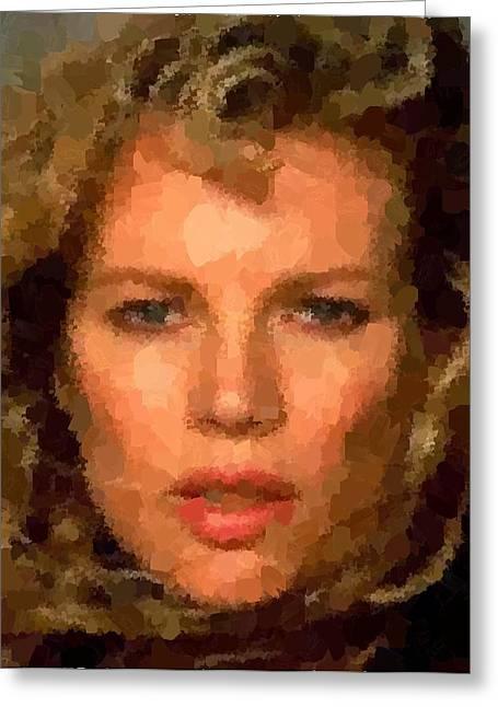 Basinger Greeting Cards - Kim Basinger portrait Greeting Card by Samuel Majcen