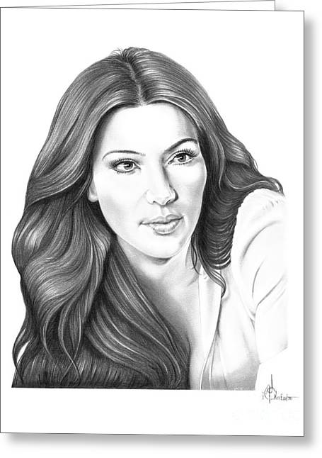 Kim Drawings Greeting Cards - Kim Kardashian Greeting Card by Murphy Elliott