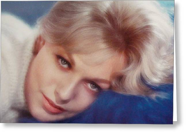 Kim Novak Greeting Cards - Kim Novak Blue Greeting Card by Frank Bez
