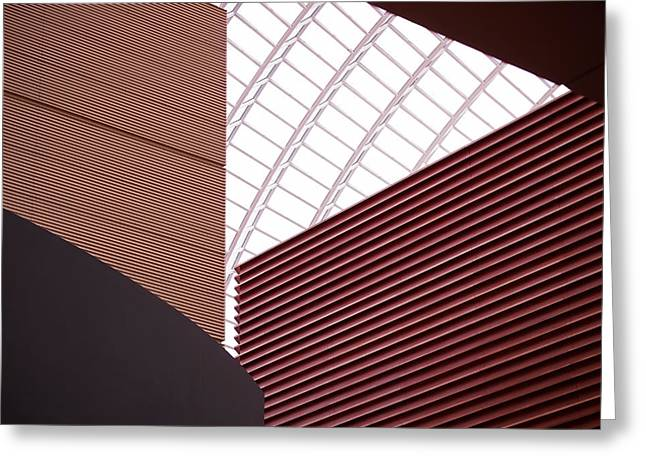 Beige Abstract Greeting Cards - Kimmel Center Geometry Greeting Card by Rona Black