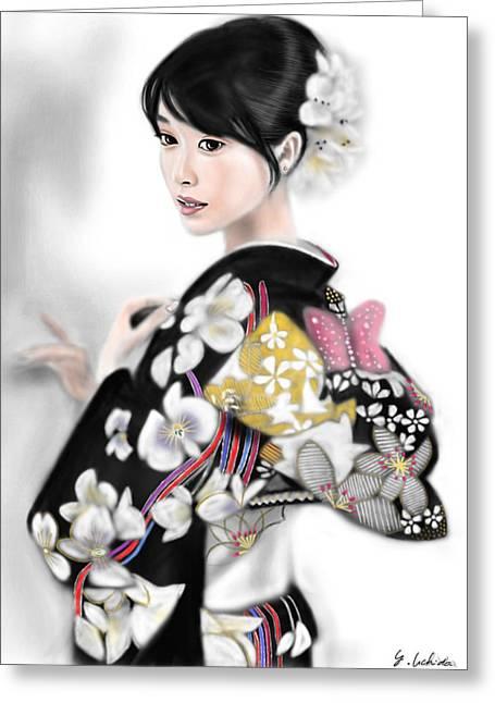 Yoshiyuki Uchida Greeting Cards - Kimono girl No.1 Greeting Card by Yoshiyuki Uchida
