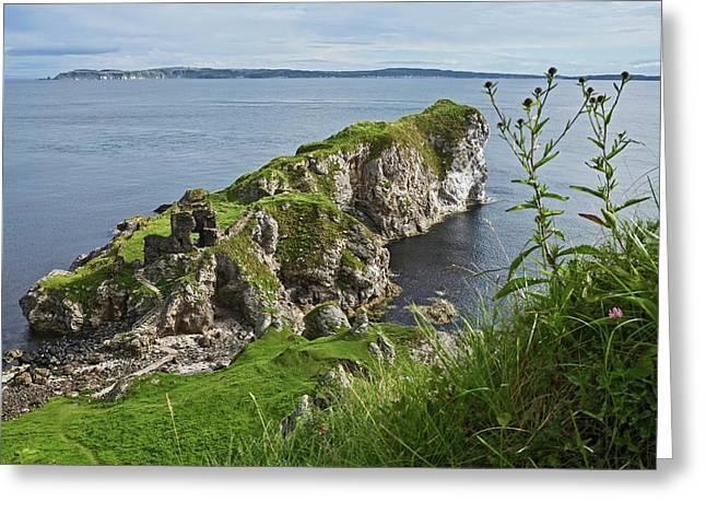 Kinbane Castle, West Of Ballycastle Greeting Card by Carl Bruemmer