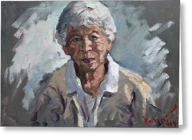 Old Lady Greeting Cards - Kind Lady Greeting Card by Ylli Haruni