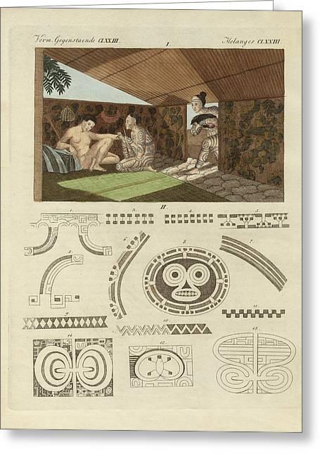 Tattoo Culture Greeting Cards - Kind of tattooing in Nurahiwa Greeting Card by Splendid Art Prints