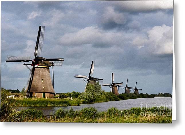 Old Mill Scenes Digital Greeting Cards - Kinderdijk Greeting Card by Borislav Stefanov