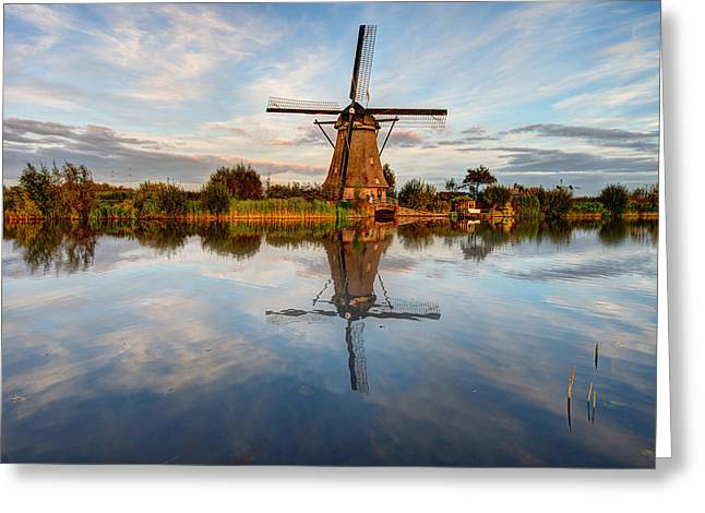 Netherlands Greeting Cards - Kinderdijk Greeting Card by Chad Dutson