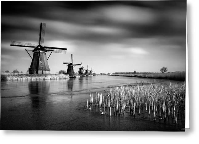 Monochrome Greeting Cards - Kinderdijk Greeting Card by Dave Bowman