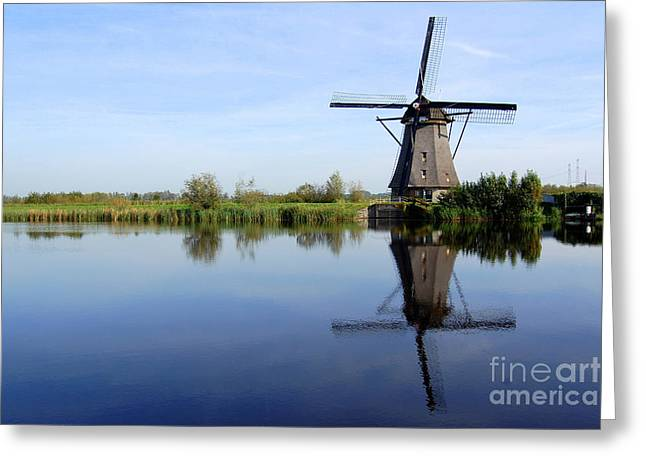 Reflection In Water Greeting Cards - Kinderdijk Greeting Card by Katerina Vodrazkova