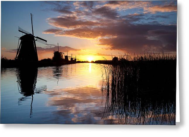 Picturesque Greeting Cards - Kinderdijk Sunrise Greeting Card by Dave Bowman