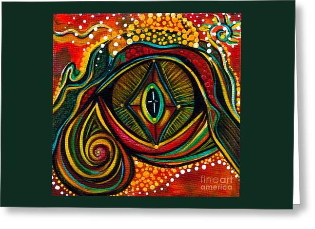 Brow Chakra Greeting Cards - Kindness Spirit Eye Greeting Card by Deborha Kerr