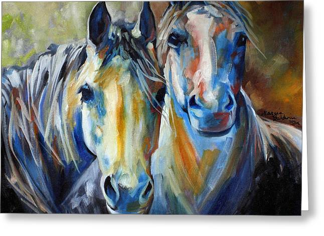 Marcia Greeting Cards - Kindred Souls Equine Greeting Card by Marcia Baldwin