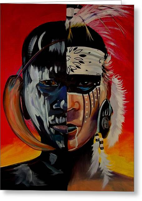 Native American Spirit Portrait Greeting Cards - Kindred Spirits I Greeting Card by Sherry Shiner