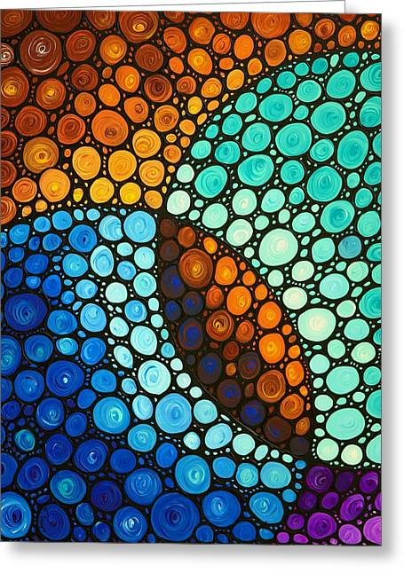 Geometrical Art Paintings Greeting Cards - Kindred Spirits Greeting Card by Sharon Cummings