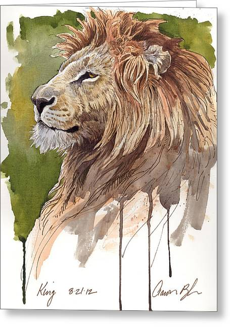 Wildlife Watercolor Greeting Cards - King Greeting Card by Aaron Blaise