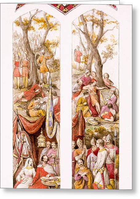 Stained Greeting Cards - King Alfred At Athelney, Somerset Greeting Card by William Bell & Boyd, Alice Scott