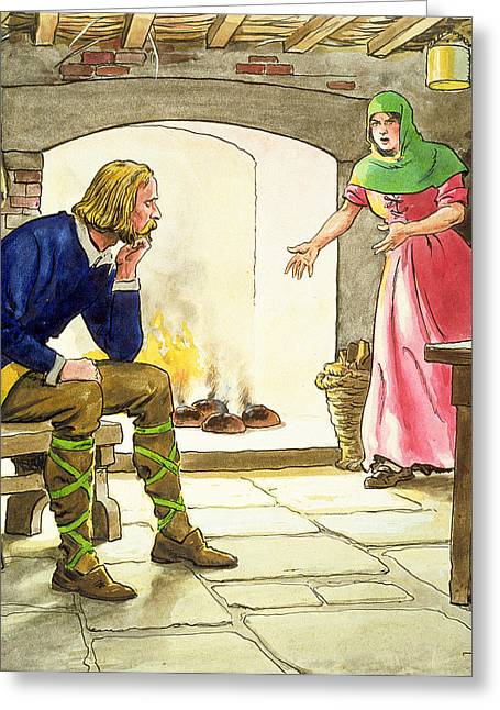 Fugitive Greeting Cards - King Alfred Burning The Cakes Greeting Card by Trelleek