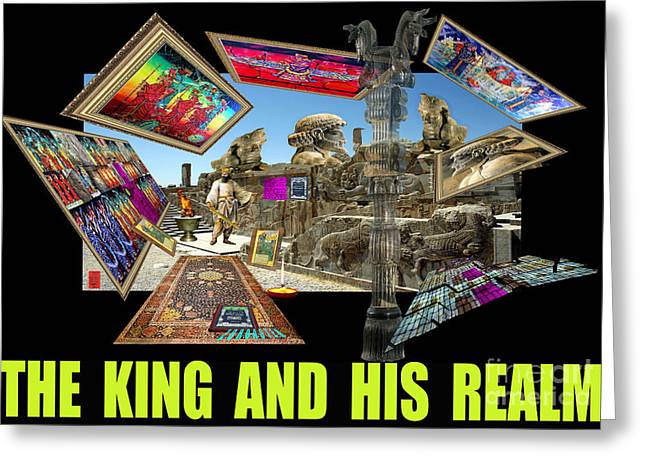 """photo Manipulation"" Paintings Greeting Cards - King and his Realm-poster Greeting Card by Dariush Alipanah- Jahroudi"