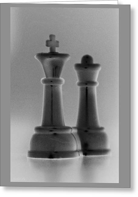 Game Piece Digital Art Greeting Cards - KING AND QUEEN in BLACK AND GREY Greeting Card by Rob Hans