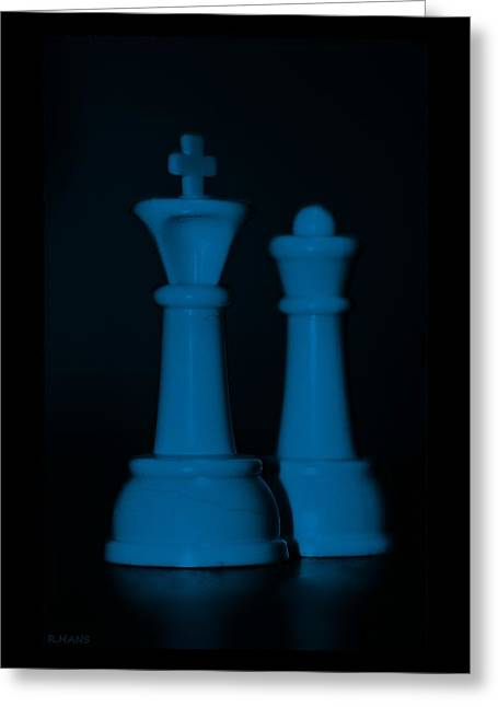 Game Piece Digital Art Greeting Cards - KING AND QUEEN in BLUE Greeting Card by Rob Hans