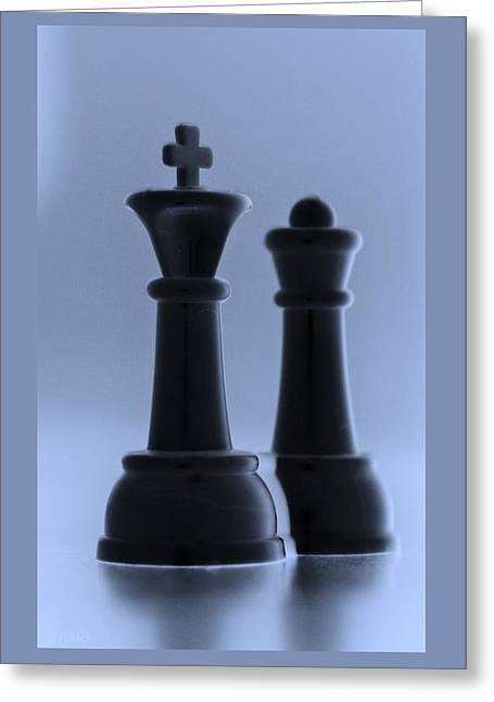Game Piece Digital Art Greeting Cards - KING AND QUEEN in CYAN Greeting Card by Rob Hans