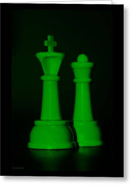 Game Piece Digital Art Greeting Cards - KING AND QUEEN in GREEN Greeting Card by Rob Hans