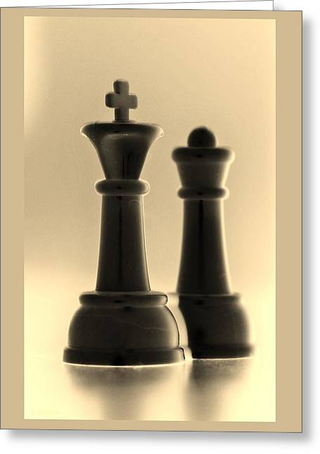 Game Piece Digital Art Greeting Cards - KING AND QUEEN in SEPIA Greeting Card by Rob Hans