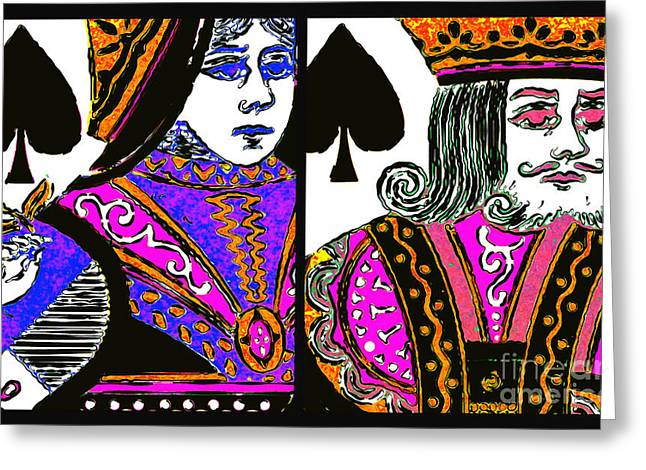 Playing Cards Digital Art Greeting Cards - King and Queen of Spade 20140812 Greeting Card by Wingsdomain Art and Photography