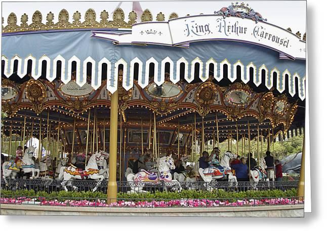 Mad Hatter Photographs Greeting Cards - King Arthur Carrousel Fantasyland Disneyland Greeting Card by Thomas Woolworth
