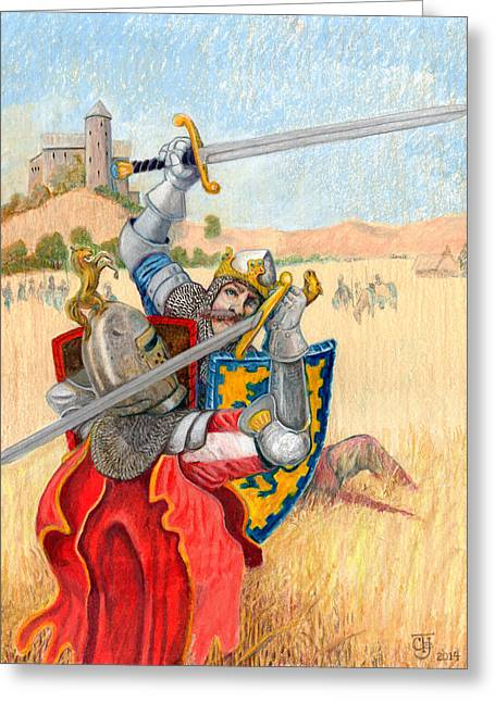 King Arthur Challenges Sir Lance-a-lot Greeting Card by Todd Hatchett